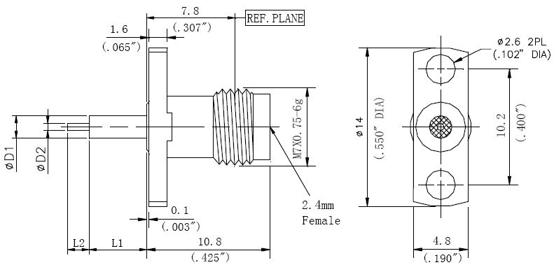 Exposed Teflon, 2.4mm Female Conenctor, Technical Drawing