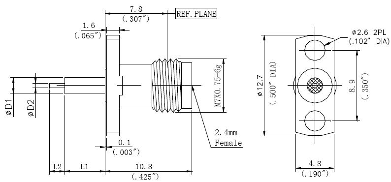 Exposed Teflon, 2.4mm Female Connector, Technical Drawing