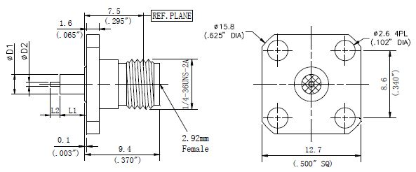 Exposed Teflon, 2.92mm Female Connector, 4 Hole Flange, Technical Drawing
