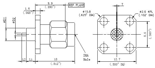 Exposed Teflon, SMA Female Connector, 4 Hole Flange, Technical Drawing