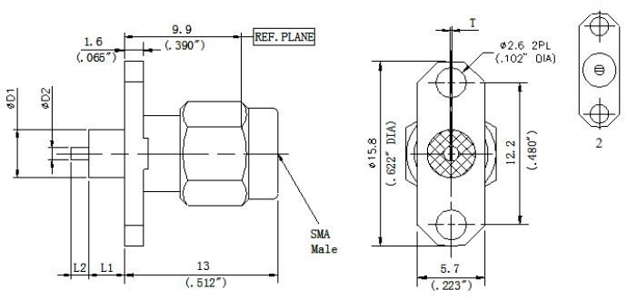 Exposed Teflon, SMA Female Connector, 2 Hole Flange, Technical Drawing