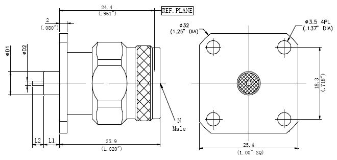 Round Contact, N-Type M, 4 Hole Flange Connector, Technical Drawing