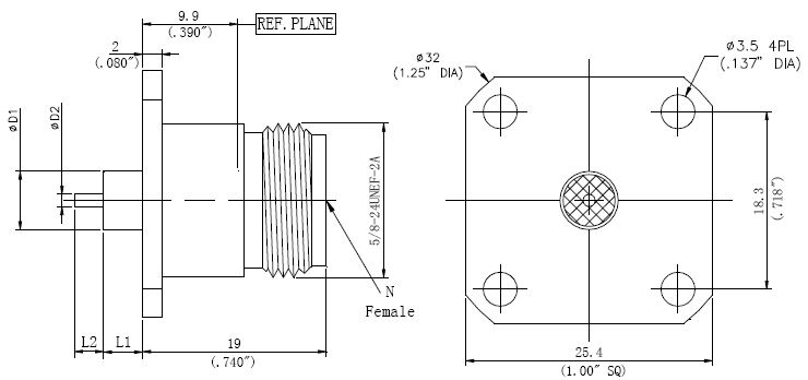 Round Contact, N-Type F, 4 Hole Flange Connector, Technical Drawing