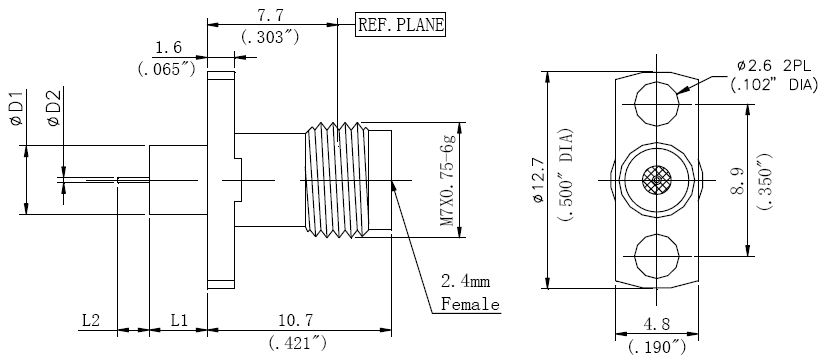 Round Contact, 2.4mm Female Connector, Technical Drawing