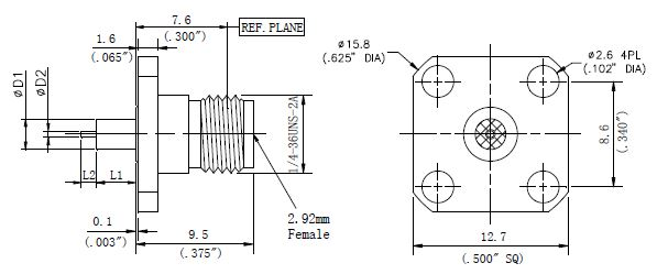 Round Contact, 2.92mm Female Round Contact Connector, 4 Hole Flange, Technical Drawing