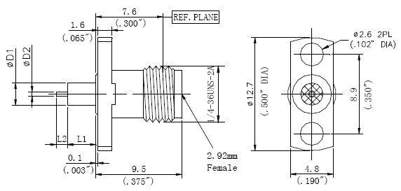 Round Contact, 2.92mm Female Round Contact Connector, 2 Hole Flange, Technical Drawing