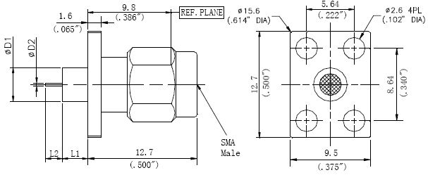 Round Contact, SMA Male Connector, 4 Hole Flange, Technical Drawing