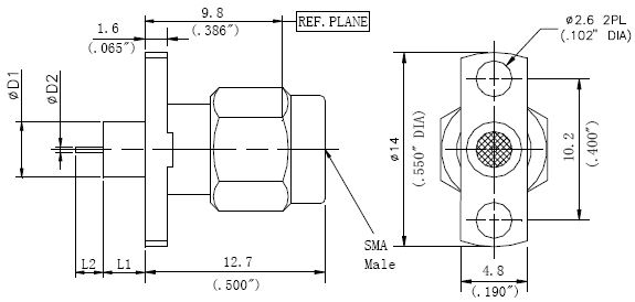Round Contact, SMA Male Connector, 2 Hole Flange, Technical Drawing