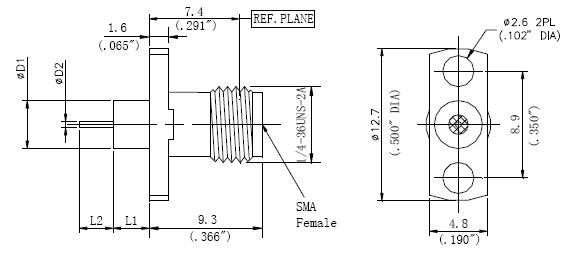 Round Contact, SMA Female Connector, 2 Hole Flange, Technical Drawing