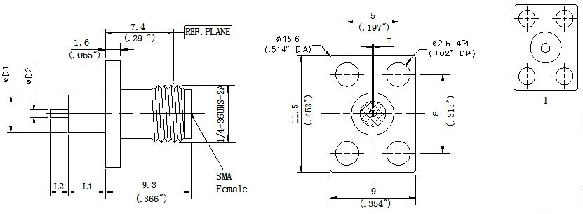 Round Contact, SMA Female Connector, 4 Hole Flange, Technical Drawing
