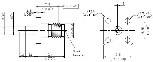 Round Contact, SSMA Female Connector, 4 Hole Flange, Technical Data