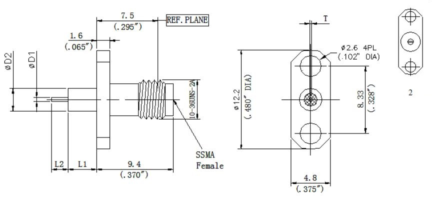 Round Contact, SSMA Female Connector, 2 Hole Flange, Technical Drawing