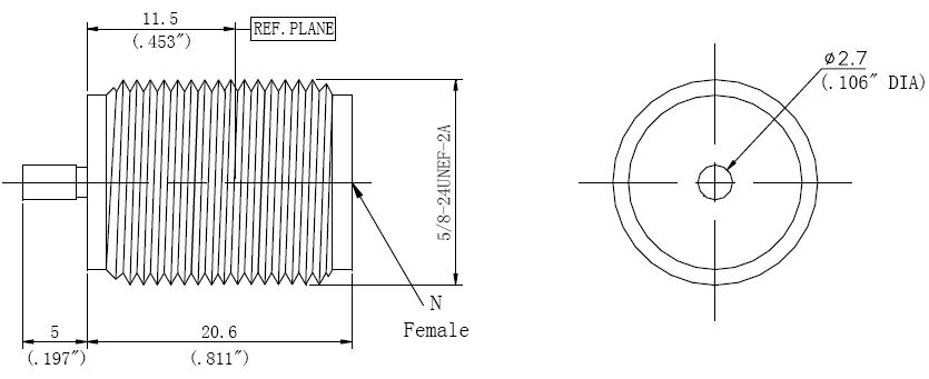 N-Type Female, Stripline Connector, Technical Drawing
