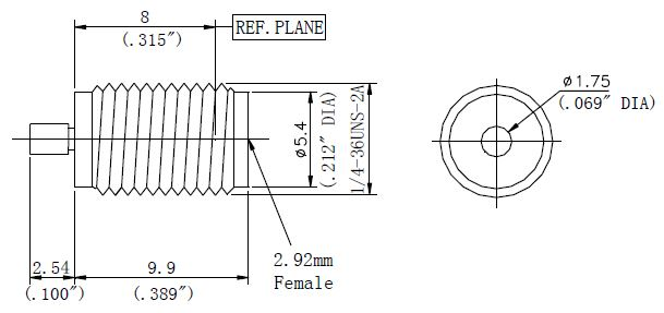 Stripline Receptacle, 2.92mm Female Connector, Technical Drawing