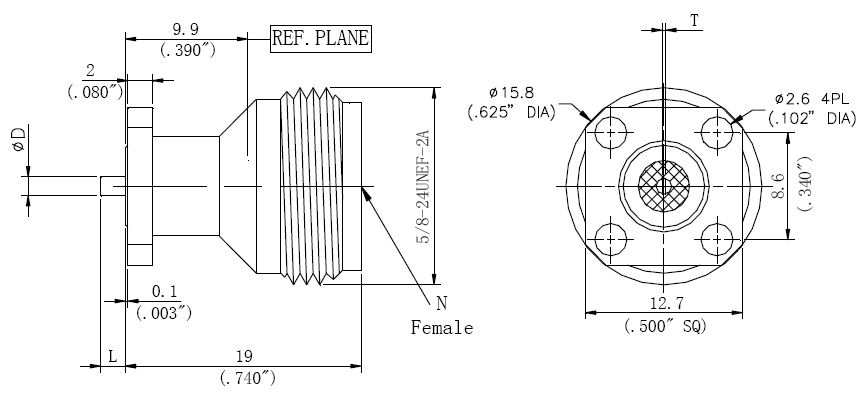 Tab Contact, N-Type F, 4 Hole Flange Connector, Technical Drawing