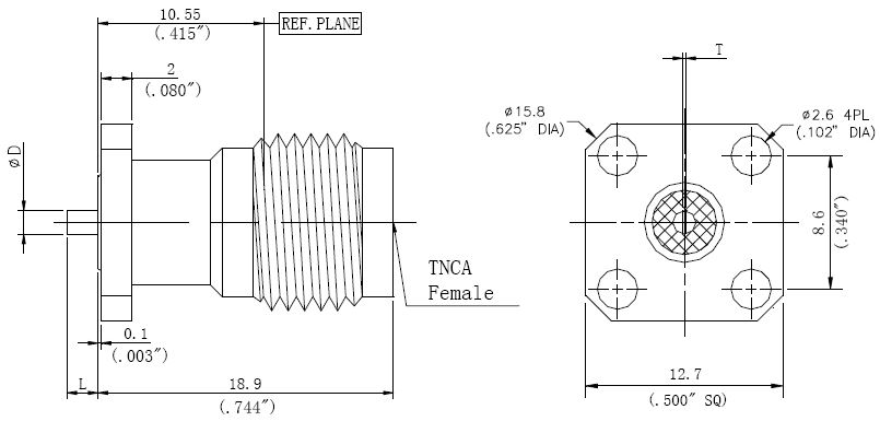 Tab Contact, TNCA F, 4 Hole Flange, Connector Technical Drawing