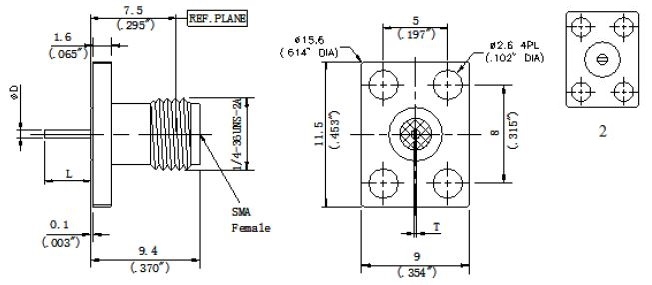 Tab Contact, SMA Female Connector, 4 Hole Flange, Technical Drawing