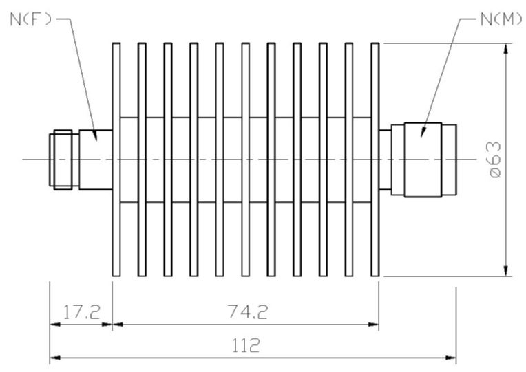 RF Coaxial Attenuator, N-Type Male to N-Type Female, Technical Drawing