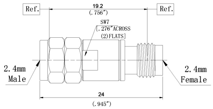 RF Coaxial Fixed Attenuator, 2.4mm Male to 2.4mm Female, Technical Drawing