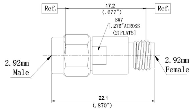 RF Coaxial Fixed Attenuator, 2.92mm Male to 2.92mm Female, Technical Drawing