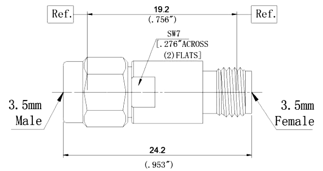 RF Coaxial Fixed Attenuator, 3.5mm Male to 3.5mm Female, Technical Drawing