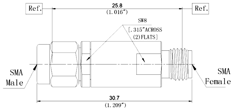 RF Coaxial Fixed Attenuator, SMA Male to SMA Female, Technical Drawing