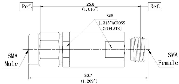 RF Coaxial Fixed Attenuator, SMA Male to SMA Female, Technical Drawing