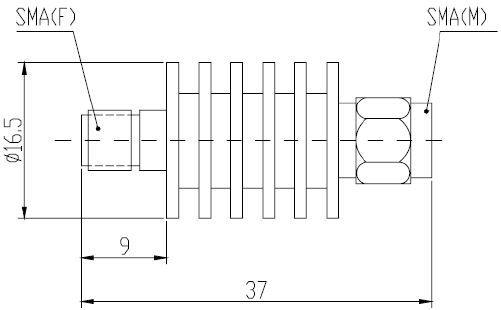 Attenuator Bi-directional SMA Male to SMA Female 5W 18GHz 03dB