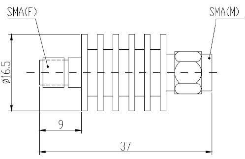 Attenuator Bi-directional SMA Male to SMA Female 5W 18GHz 06dB