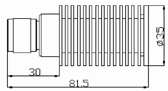 RF Termination, N-Type Male, Technical Drawing