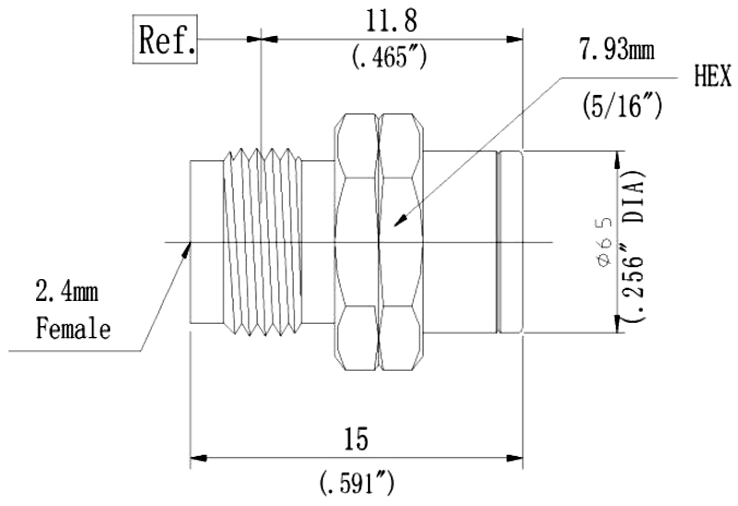 RF Coaxial Termination, 2.4mm Female, Technical Drawing
