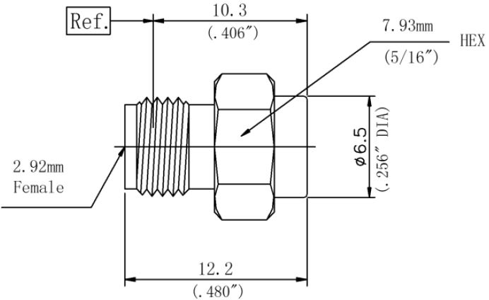 RF Coaxial Termination, 2.92mm Female, Technical Drawing
