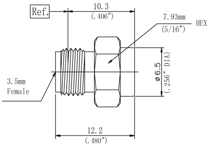 RF Coaxial Termination, 3.5mm Female, Technical Drawing