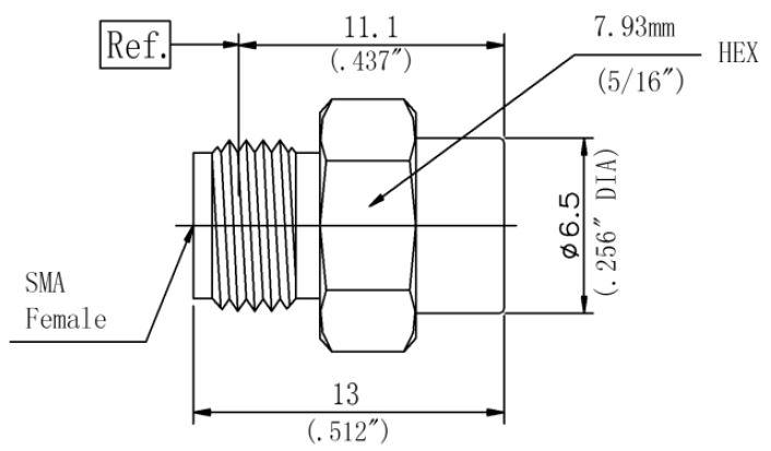RF Coaxial Termination, SMA Female, Technical Drawing