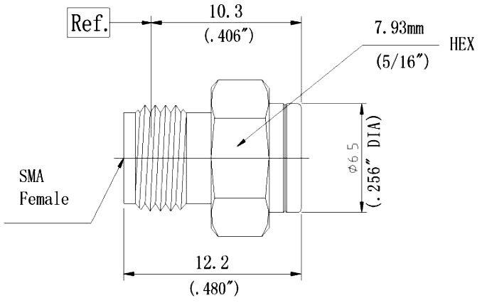 RF Coaxial Termination, SMA Female, Technical Drawing