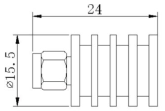 RF Coaxial Termination, SMA Male, 5W 18GHz, Technical Drawing