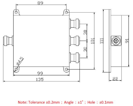 Power Divider 3 way N Type Female 50W, 698 to 2700MHz, Technical Drawing