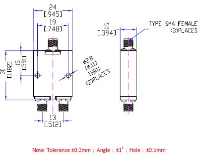 Power Divider 2 Way, SMA Type Female 20W, 8 to 12.8GHz, Technical Drawing