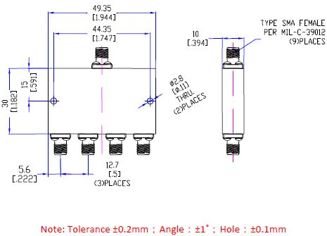 Power Divider 4 Way, SMA Type Female 20W, 8 to 12.8GHz, Technical Drawing