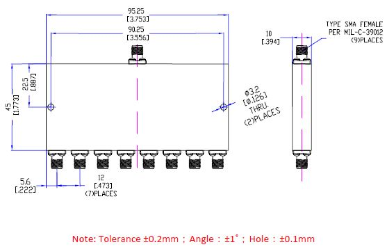 Power Divider 8 Way, SMA Type Female 20W, 8 to 12.8GHz, Technical Drawing