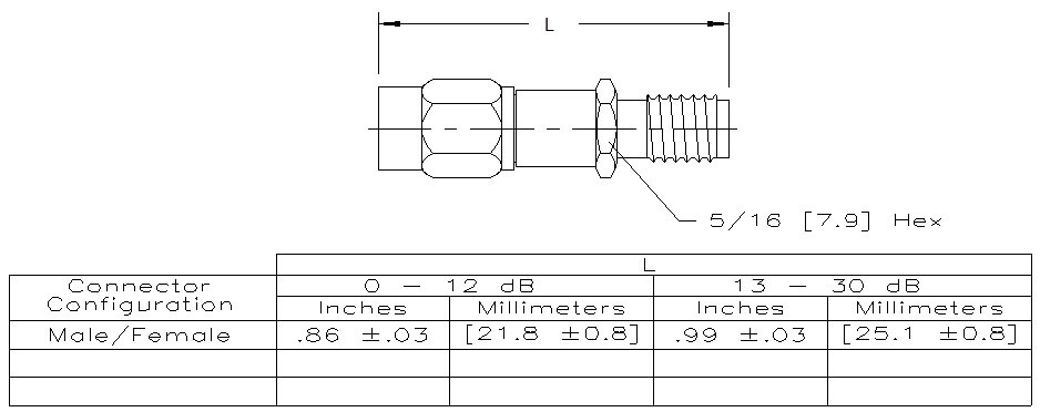 Attenuator SMA Male to SMA Female, 18GHz, 3dB, 2W, Technical Drawing